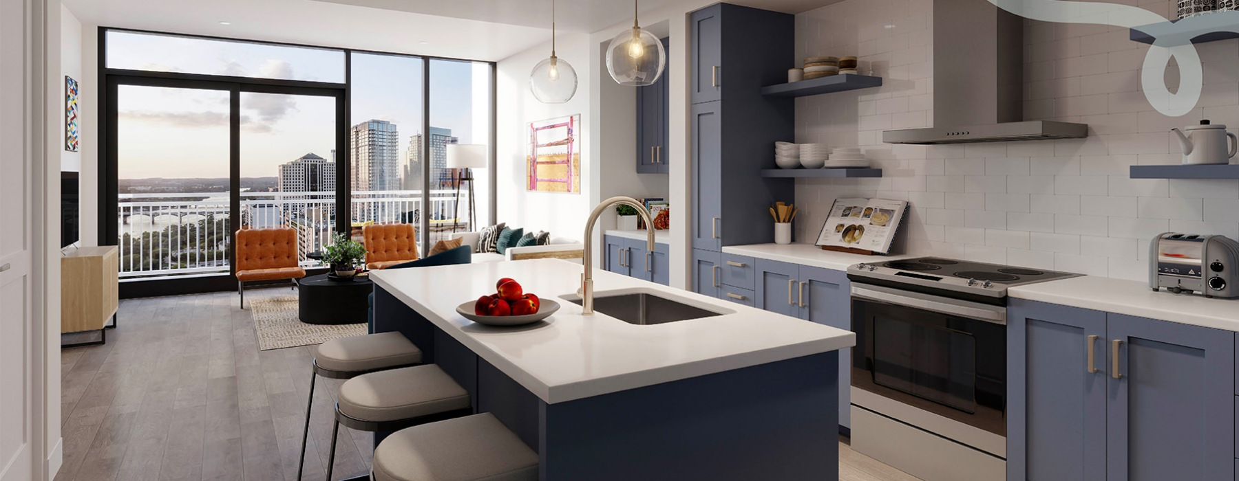 edited graphic of a spacious kitchen with ample natural lighting