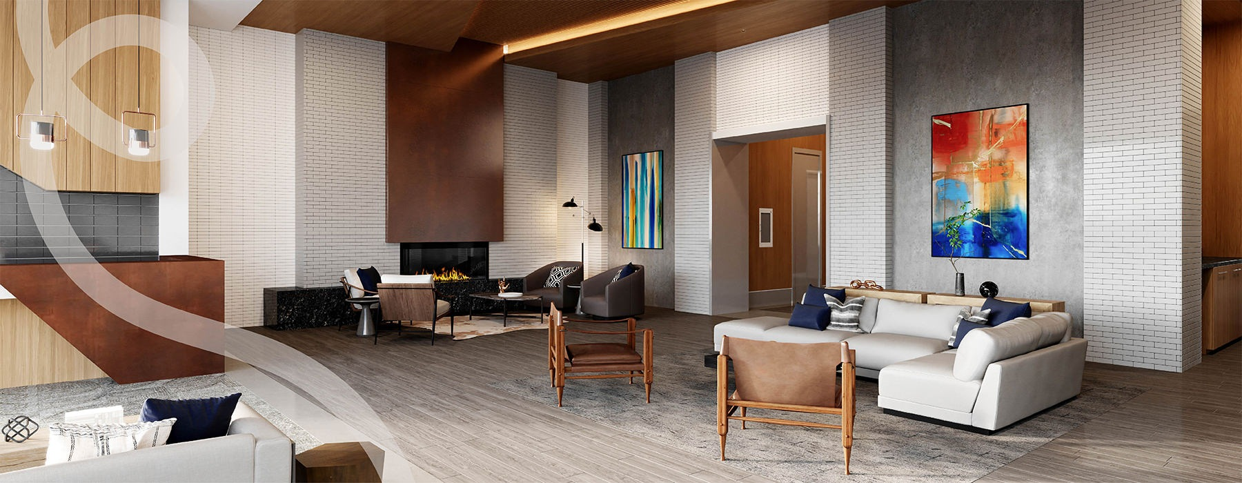 edited graphic of a large lounge area with a fireplace and ample seating