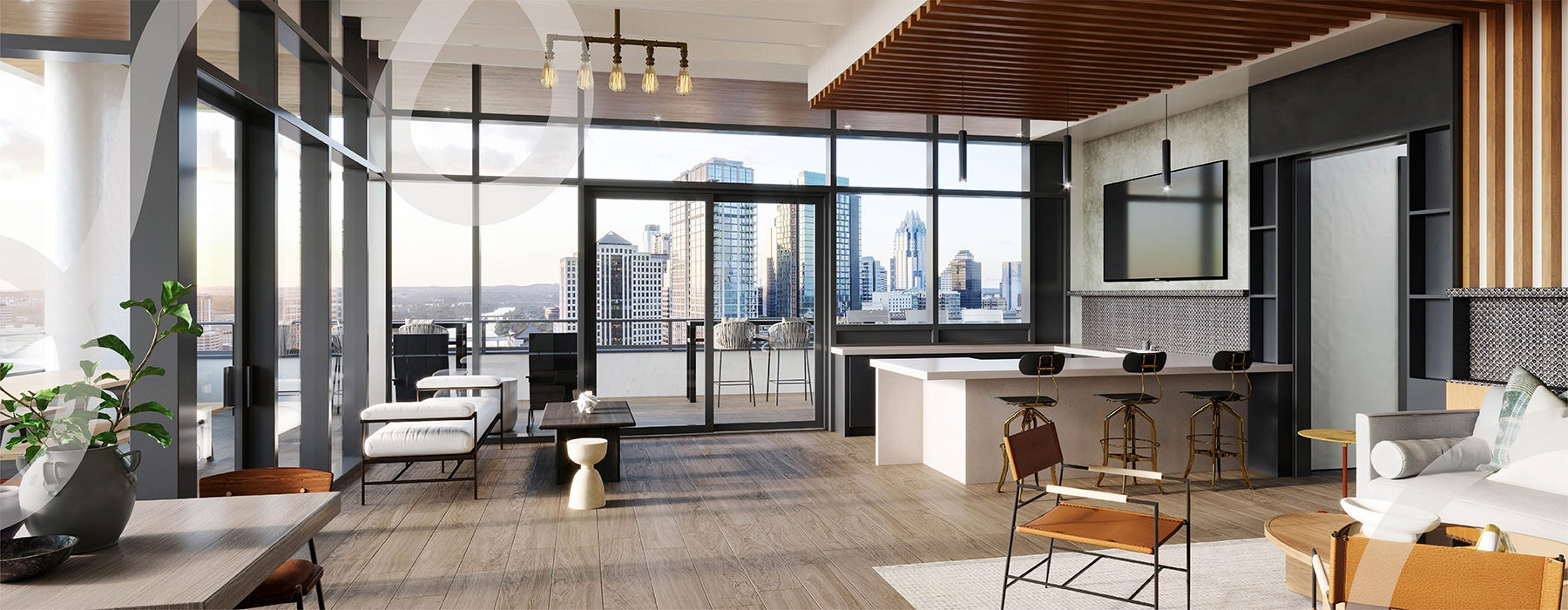 graphic showing open living area with city views